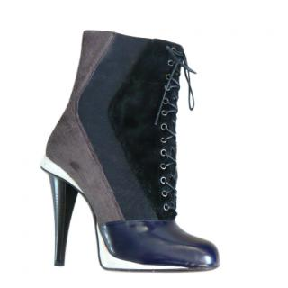 Fendi leather & pony hair lace-up ankle boots