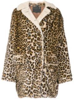 R13 Oversized Faux Fur Leopard Print Coat - Current Season
