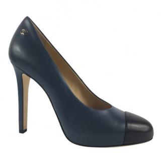Chanel Blue & Black Leather Cap Toe Pumps