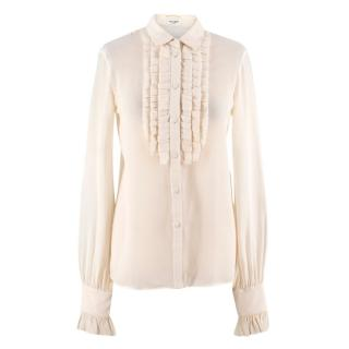 Saint Laurent Off-white Silk Ruffle Blouse