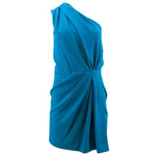 Dsquared One Shoulder Draped Little Blue Dress