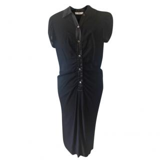 Prada Black Collared, Crepe Evening Dress