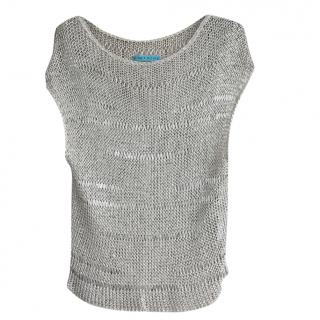 Alice + Olivia silver crochet top