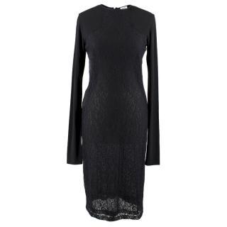 Maje X Vanessa Traina Black Lace Fitted Midi Dress
