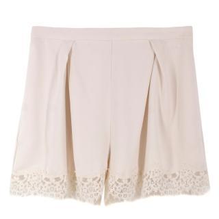 Zimmermann Cream Lace Trim Shorts