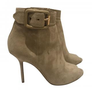 Burberry Suede Stiletto Ankle Boots