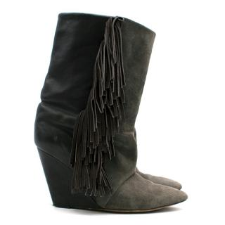 Isabel Marant Tassel Suede & Leather Wedge Boots