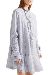 Roksanda 'Hecla' Ruffle-Trimmed Striped Cotton-Poplin Dress