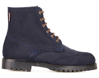 Penelope Chilvers suede navy blue brogue lace up ankle boots