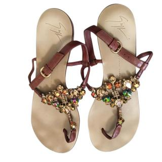 Giuseppe Zanotti Jeweled Leather Thong Sandal