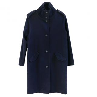 Sessun Simon Navy Heavy Wool Knit Collar Duffle Pea Coat