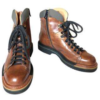 Santoni leather hiking boots