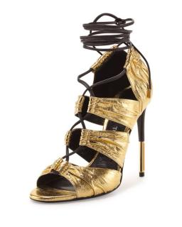 Tom Ford Gold Leather Lace-up Sandals