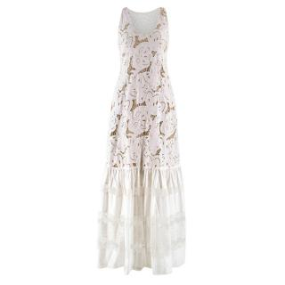 Zuhair Murad White Brorderie Anglaise Dress