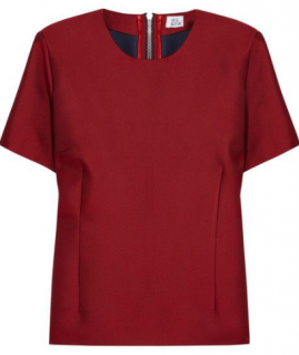 NEW w/tag Iris & Ink red duchesse-satin silk blouse top size Medium
