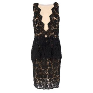 Adriana Minari Black Lace Peplum Dress