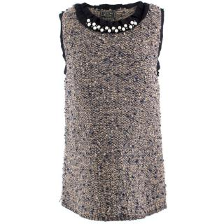 Lanvin Metallic Knit Faux-pearl Collared Sleeveless Top