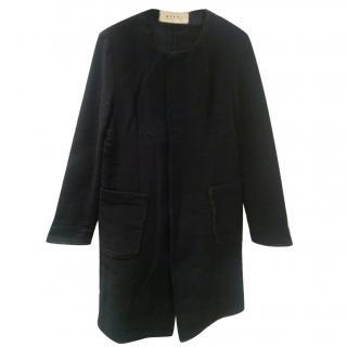 Marni Navy Collarless Wool & Linen Blend Coat