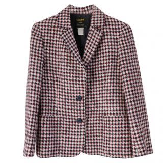 Celine Vintage Red/Navy/White Houndstooth Check Jacket
