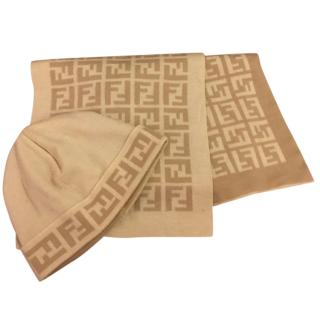Fendi FF Monogram Hat and Scarf