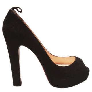 Christian Louboutin Bambou Suede Peep Toe Pumps Black 140mm