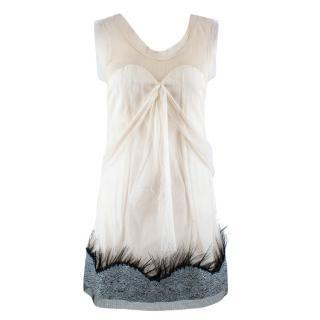 Rochas Silk-blend Sequin & Feather Embellished Hem Dress