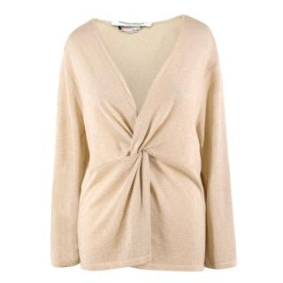 Marina Rinaldi Gold Metallic V-neck Twist-front Knit Top