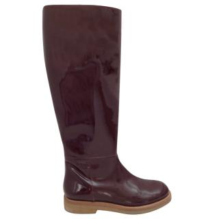 Marni Knee High Burgundy Patent Leather Boots