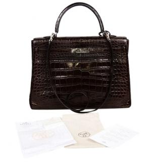 Hermes Alligator Mat Ebene Retourne 35cm Kelly Bag