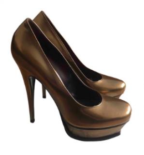 Yves Saint Laurent 'Tribute' Gold Patent Leather Platform Heels