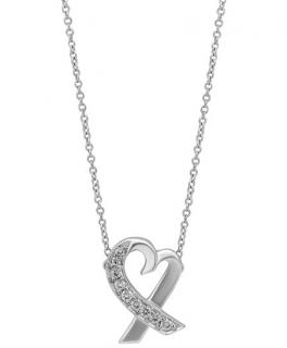 Tiffany 18k Paloma Picasso Loving Heart Diamond Pendant Necklace