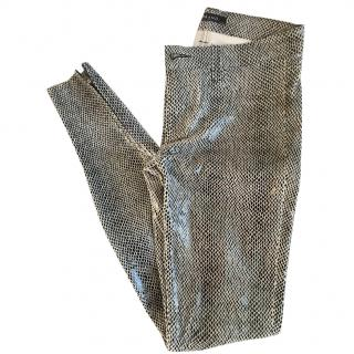 J Brand Leather Snake Print Skinny Trousers