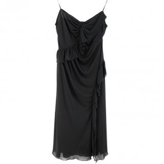 Prada Black Stretch Asymmetric Ruffle Slip Dress