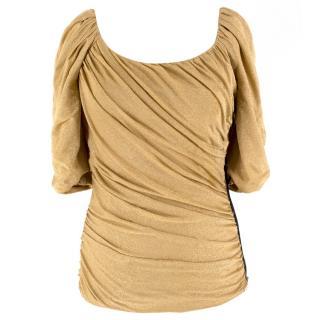 Dolce & Gabbana Gold Lurex Ruched Top