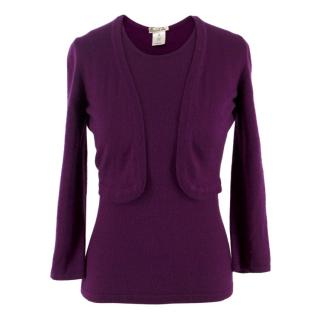 Oscar De La Renta Cashmere Top and Cardigan Set