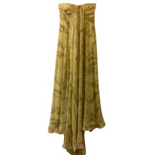 Halston Heritage long silk chiffon gown with train