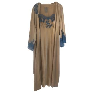 Marjolaine Silk and Lace Robe and Cami Night Set