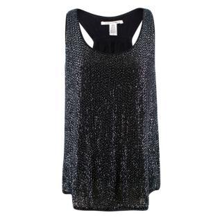 Diane von Furstenberg Silk Sequin & Bead Embellished Top