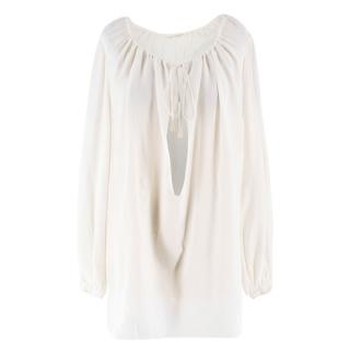 Saint Laurent Off White Silk Blouse