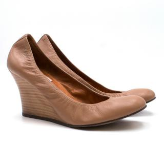 Lanvin Brown Leather Wedge Pumps