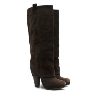 Ash Brown Suede Platform Boots