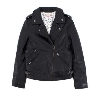 Bonpoint Black Leather Biker Jacket