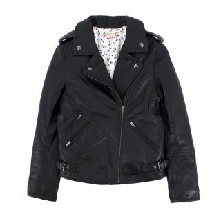 Bonpoint Black Leather Biker Jacket