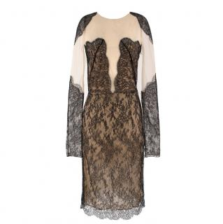 Adriana Minari Nude Mesh & Lace Fitted Long Sleeved Dress