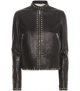 Valentino Rockstud Untitled Leather Jacket Black