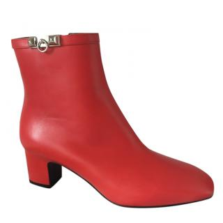 Hermes Red Power Low Ankle Boots