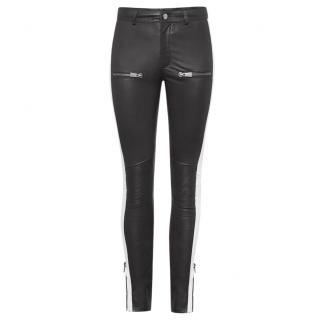 Anine Bing Leather Side Stripe Pants