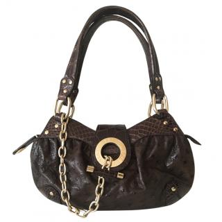 Bally ostrich and crocodile bag