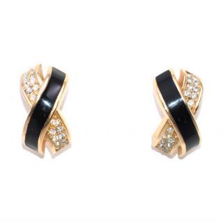 Christian Dior Vintage Black Swarovski Crystal Criss Cross Earrings