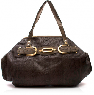 Jimmy Choo Oversized Khaki Python Shoulder Bag
